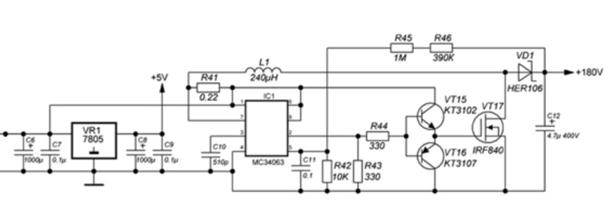 Схема электрическая преобразователя напряжения 9В-180В