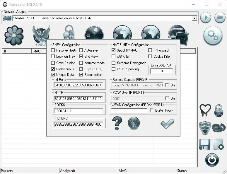 Intercepter-NG Windows 10