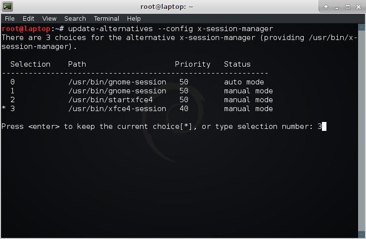 Выбор настольной среды в Kali Linux