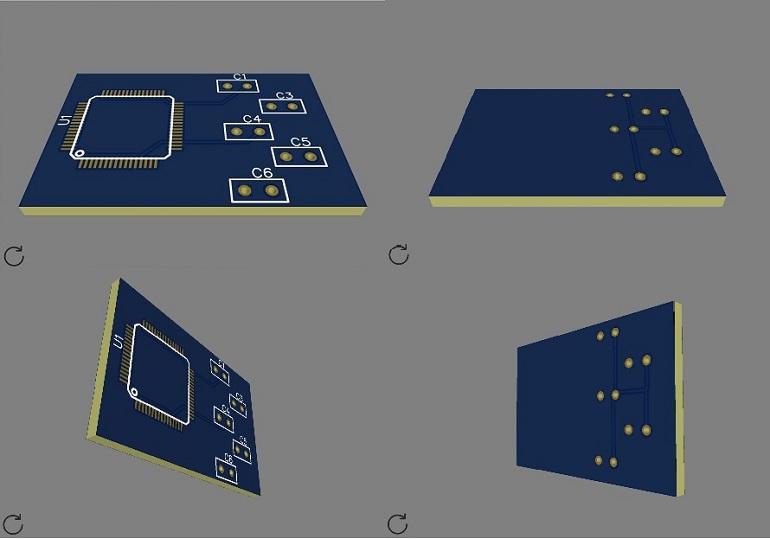 3D модель печатной платы в EasyEDA